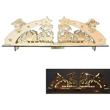 Roomando Schwibbogen aus Holz 60cm mit 12 LEDs Fensterbankdeko Holzbogen Weihnachtsdeko