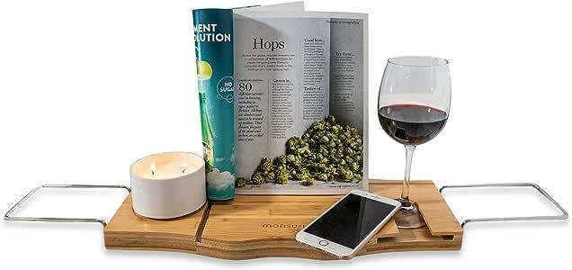 Monsuri Badewannen-Ablage Buch iPad Tablet Handy Wein-Glas
