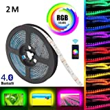 Gluckluz LED Light Strip Smart Bluetooth Lighting 2m USB Smartphone APP Control RGB 5050 Color Changing Waterproof TV Backlig