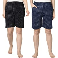 Espresso Women Casual Elastic Waist Pocketed Printed Pyjama Shorts - Pack of 2