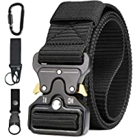 Men Tactical Belt, Military Style Heavy Duty Nylon Canvas Waist Belts with Quick-Release Metal Buckle For Cargo Shorts…