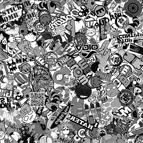 30x150cm Stickerbomb Auto Folie in schwarz / weiß matt - Sticker Logo Bomb - JDM Aufkleber - Design: SD BW M (Und Weiß Schwarz Logo)