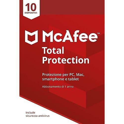 McAfee Total Protection 2019 | 10 Dispositivi | Abbonamento di 1 anno | PC/Mac/Smartphone/Tablet | Codice di attivazione via posta