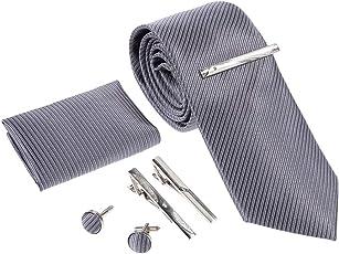 Rovtop Herren Krawatte Geschenkbox Set Montieren Krawatte, Manschettenknöpfe, 3 Krawattenklammern, handgenähte Simulation Silk Geschenkbox