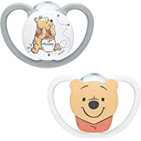 NUK Space Baby Dummy   0-6 Months   Soothers with Extra Ventilation  BPA-Free Silicone   Disney Winnie the Pooh   2 Count