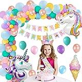 MMTX Unicornio Decoración de Cumpleaños para Niña Suministros Fiesta de Cumpleaños Banner 3D Globo de Unicornio Globos de Lát