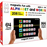 Play Poco Magnetic Fun with Alphabet and Words - with 64 Picture Magnets, 144 Letter Magnets (Capital & Small), Magnetic Boar