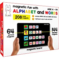 Play Poco Magnetic Fun with Alphabet and Words - with 64 Picture Magnets, 144 Letter Magnets (Capital & Small), Magnetic…