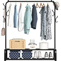 YAYI Porte-Vêtements en Métal Suspension Autoportante avec Double Couche étagère de Rangement et Crochets Latéraux Noir