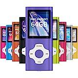 """Mymahdi - Lettore MP3/MP4, con schermo LCD da 1,8"""" e slot per schede di memoria, supporta max 128 GB, colore: viola"""