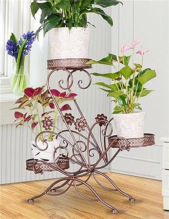 WENZHE Blumenstnder Europischer Kreativer Dreistckiger Eisen Fussboden Blumen Topf Regal Hngend Orchidee Zahnstange Fr Balkon Wohnzimmer