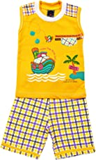 ELK Kids Boys Sleeveless Cotton Yellow T-Shirt With Bottom Set