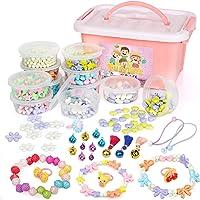Sanlebi Enfants Bricolage Perles Set, 1000 Pièces Bracelet Perle pour Fabrication de Bracelets,Collier, Kit Fabrication…