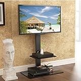 FITUEYES Meuble TV avec Support CantileverTélé Pied Pivotant pour Ecran de 32 à 65 Pouce TV LED LCD PC Plasma avec 2 Etagères pour Ranger AV Equipement TT207001MB