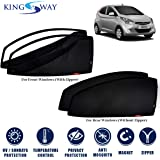 Kingsway Car Magnetic Sun Shades/Curtains for Hyundai Eon (Model Year : 2011 Onwards) (Set of 4, with Zipper, Cotton…