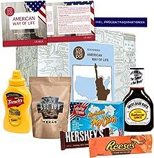 Premium Geschenkbox American Way of Life I Amerikanische Food Klassiker I Geschenk für Amerika Fans I USA Süßigkeiten & BBQ im Probierset