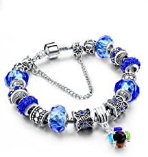 Hot and Bold Sterling Silver Plated Charms DIY Bracelet. Daily/Party Wear Stylish Fashion Jewellery for Women/Girls.