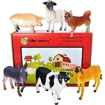 Farm Animal Plastic Toy Figures boxed set of 6