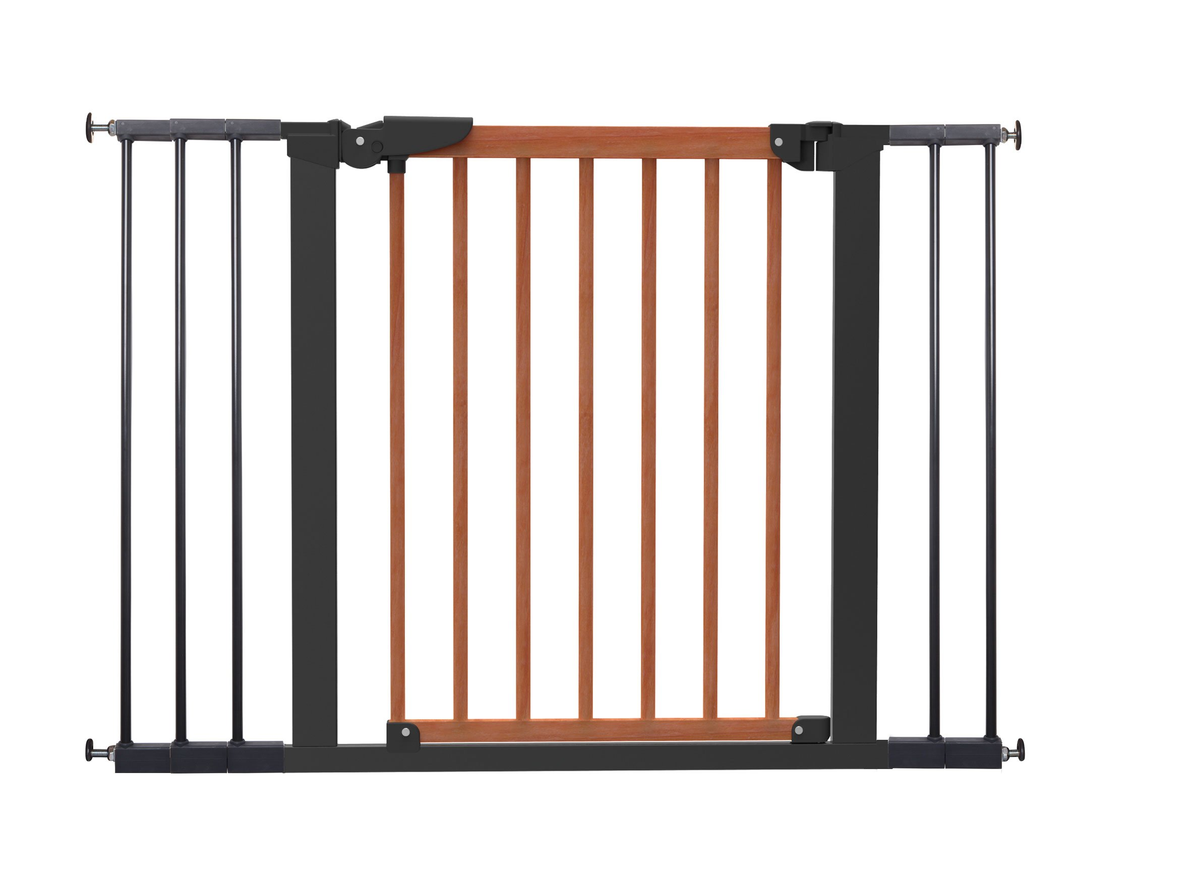 BabyDan Pressure Avantgarde Gate Hanger for door/Staircase 71,3-110,6cm Cherry/Black  Simple to build and comes complete with all fixings Made of metal and moved by a pressure fixing system Includes stop pins for mounting at the top of stairs 1