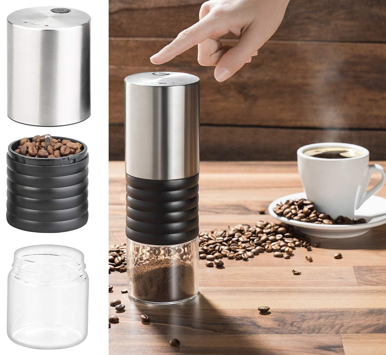 Rosenstein & Söhne 12V Kaffeemaschine: Elektrische Akku-Kaffeemühle mit Keramik-Mahlwerk, USB Ladebuchse (Mobile Kaffeemühle)