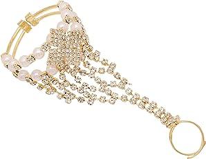Sanjog Little Girl Golden Brass Bracelet Bangle Hand Harness for Kids Girls 3 to 5 Years