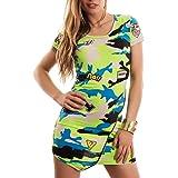 Toocool - Vestito Donna Miniabito Mimetico Orlo Asimmetrico Zip Manica Corta Nuovo T5754