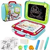 Vanplay Pizarra Mágica para Niños, 2 en 1 Caballete Doble Cara Bibujo Tablero del Doodle Magneticos de los Niños para 3 4 5 A