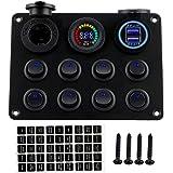 RUIZHI 8 Gang Panneau Interrupteurs à Bascule 12-24V Double Chargeur USB Prise avec Voltmètre à LED Rocker Switch Panel pour