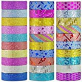 Success Stationery Colourful Decorative Adhesive Glitter Tape Rolls, Length 3m Each, Set of 30 (Colours and Designs May Vary)