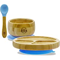 Bubba Bear ® Baby Bamboo Suction Bowl, Plate & Spoon Set | Stay Put Toddler Led Feeding Bowls & Plates | Guide to Weaning eBook