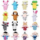 Siumir Marionnettes à Doigts Animaux et Membres de la Famille Marionnettes à Doigt 16 pcs Mini Poupées Jouets Éducatifs pour