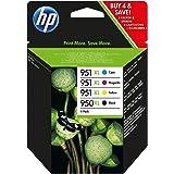 HP 950XL-951XL C2P43AE Negro, Cian, Amarillo y Magenta, Cartucho de Tinta de Alta Capacidad Original, Pack de 4, de 6.800 pág
