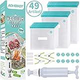 Sous-Vide-Beutel set, 30 wiederverwendbare Vakuumbeutel BPA-frei mit Handpumpe, Kochklammern, Dichtungsklammern, Luftventilaufklebern, ideal für die Aufbewahrung von Lebensmitteln und Sous-Vide-Kochen