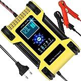 Chargeur de Batterie Voiture Moto 12A 12V/24V, Chargeur Batterie Intelligent Automatique avec Réparation Fonction et LCD Écra