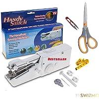 SWIZMO Lightweight Stitch Handheld Cordless Portable Scissor and Electric Mini Sewing Machine (White)