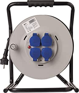 Emos 50m Professional Heavy Duty Cable Reel Ip44 Outdoor Use 4 Sockets With Hinged Covers 2 5 Mm Schuko For Construction Sites Industry Continuous Outdoors Baumarkt