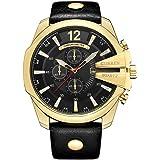ساعة كورين للرجال بخاصية عرض التاريخ الفاخر للرجال ذهبي وسوار جلد أنيق خارجي كاجوال رياضية مع قرص كبير (لون ذهبي أسود)