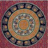 Handicrunch  Tagesdecke Elefantendesign grün bordeaux orange 230 x 205 cm indische Decke Tischdecke Wandbehang Vorhang Baumwolle