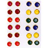 Honbon Multi-color Medium Size Round Stud Earrings With Plastic Back for Girls and Women (Combo of 12 Pairs)