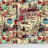Soimoi 44 pollici di larghezza Francia Tema Stampa architettonico puro tessuto di seta per il cucito al metro - Beige