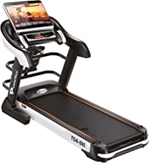 Powermax Fitness TDA-595 4.0 Hp, 18.5In Touch Screen, Auto Lubrication, Multifunction Motorized Treadmill