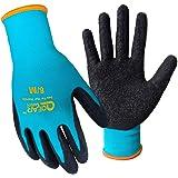 Lot de 3 paires de gants de jardinage, paume en latex texturé pour une meilleure adhérence, résistance aux épines, à l'eau et à la saleté, L, turquoise, 6000