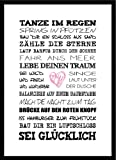 artissimo, Spruch-Bild gerahmt, 51x71cm, PE6001-ER, Tanze im Regen, Bild, Wandbild mit Spruch, Spruch-Poster mit Rahmen…