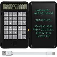 NEWYES Tavoletta da scrittura LCD da 6,5 pollici e calcolatrice di base Calcola e prendi appunti (Nero)
