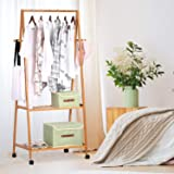 ADA Handicraft Bamboo Garment Rack, Clothing Rack, Bamboo Wood Coat Stand with Wheels 4 Side Hooks 2-Tier Storage Shelves for