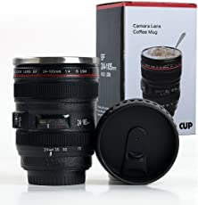 Shoptoshop Super Classic Camera Lens Shaped Coffee Mug With Lid, 400 Ml, Black (Mug_001)