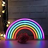 QiaoFei Niedliches Regenbogen-Neonlicht, LED-Schild in Regenbogenform, Zeltschilder/Wanddekoration für Weihnachten, Geburtsta