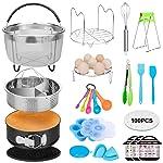 19 Pcs Pressure Cooker Accessories Compatible for 5,6,8 Qt Instant Pot, Steamer Basket Kitchen Tong Plate Gripper Egg...