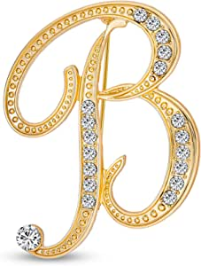 Bling Jewelry Large Statement ABC Pave Crystal Cursive Script Monogram Letters Alphabet Initial Scarf Lapel Pin Spilla for Teen Women Rose, Yellow Gold Silver Plated