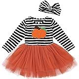 Taiduosheng 0T - 5T años de Edad niños, niñas Calabaza túnica Vestido para niños pequeños Halloween tutú Vestidos + Diademas